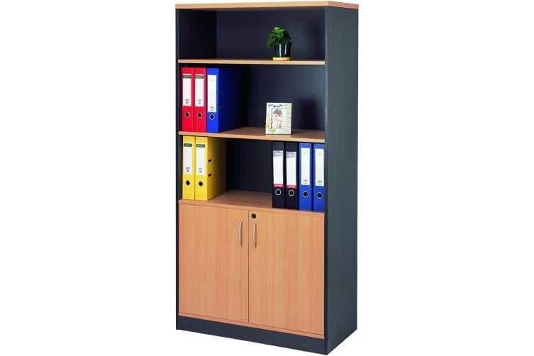 Mantone 2 Door Bookcase - Select Beech/Ironstone