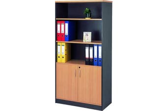 Mantone 2 Door Bookcase - Select Beech/Ironstone