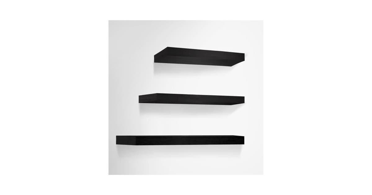 nestz 3 pcs wall floating shelf set bookshelf display black