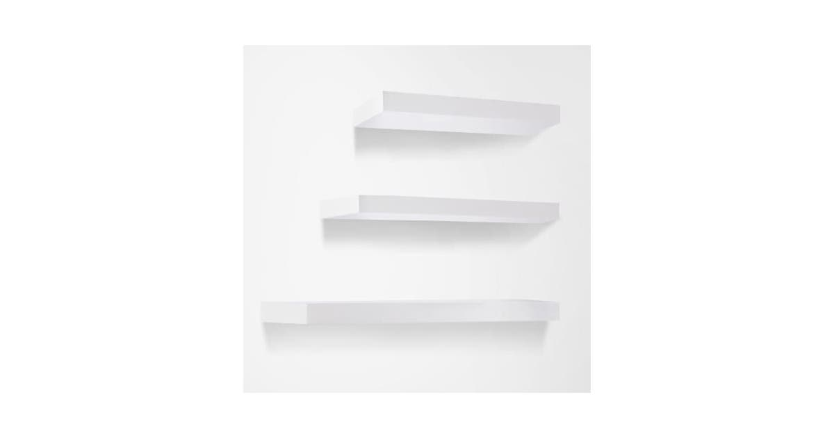 nestz 3 pcs wall floating shelf set bookshelf display white