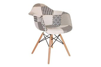 Eames Replica DAW Dining Armchair - Wood Leg - Black & White