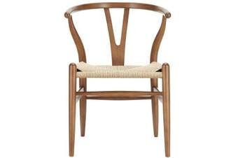 Set of 2 - Hans Wegner Replica Wishbone Cord Dining Chair - Walnut