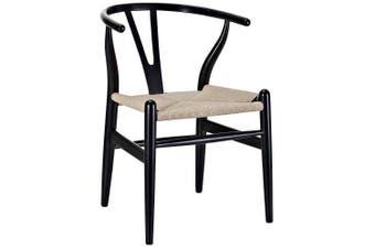 Set of 2 - Hans Wegner Replica Wishbone Cord Dining Chair - Natural Seat - Black