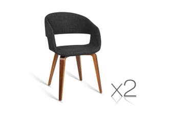 Set of 2  Modern Dining Chairs Charcoal