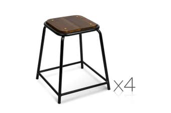 Set of 4 Stackable Wooden Seat Stools - 48.5CM