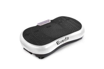 1000W Vibrating Plate Exercise Platform with Roller Wheels - White