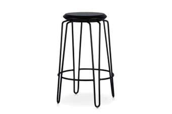 Set of 2 - Storo Bar Stool 65cm - Black Frame - Black Timber Seat