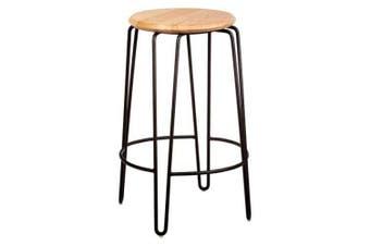 Set of 2 - Storo Bar Stool 65cm - Black Frame - Natural Timber Seat