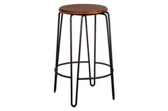 Set of 2 - Storo Bar Stool 65cm - Black Frame - Walnut Timber Seat
