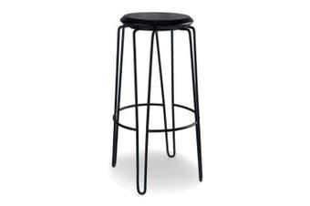 Set of 2 - Storo Bar Stool 75cm - Black Frame - Black Timber Seat