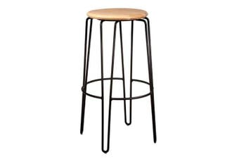 Set of 2 - Storo Bar Stool 75cm - Black Frame - Natural Timber Seat