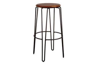 Set of 2 - Storo Bar Stool 75cm - Black Frame - Walnut Timber Seat