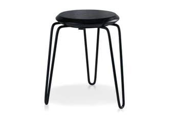 Set of 2 - Storo Bar Stool 45cm - Black Frame - Black Timber Seat