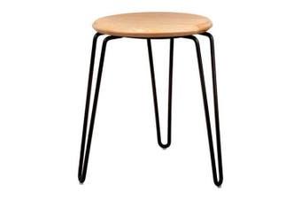 Set of 2 - Storo Bar Stool 45cm - Black Frame - Natural Timber Seat