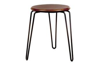 Set of 2 - Storo Bar Stool 45cm - Black Frame - Walnut Timber Seat