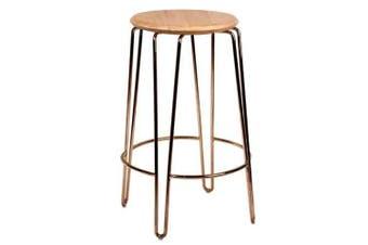 Set of 2 - Storo Bar Stool 65cm - Rose Gold Frame - Natural Timber Seat
