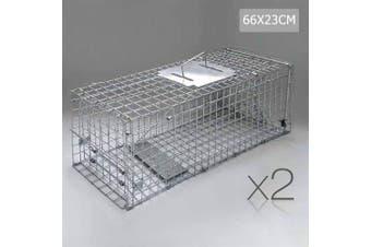 Set of 2 Humane Animal Trap Cage - 66 x 23 x 25cm Silver