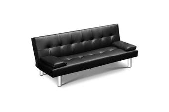 3-seater PU Leather Sofa Bed Black