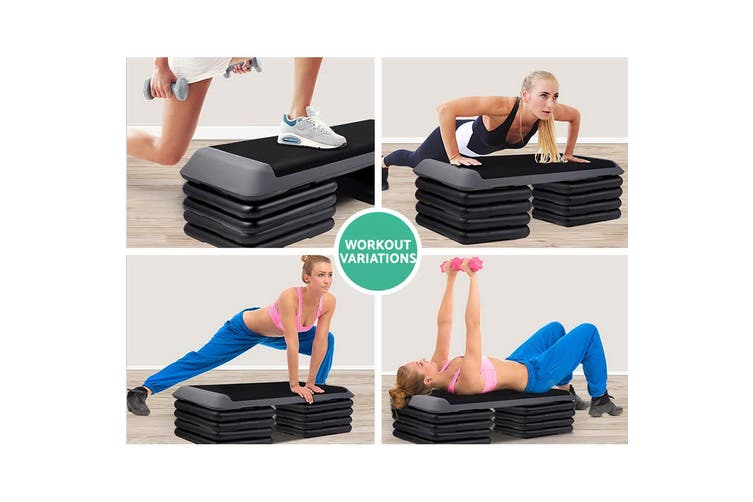 Everfit 2x Everfit Aerobic Step Risers Stepper Gym Fitness Workout Exercise Block Bench