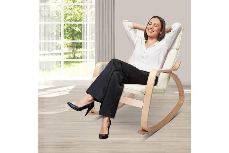 Artiss Bentwood Rocking Armchair Cushion Wooden Lounge Fabric Recliner Beige
