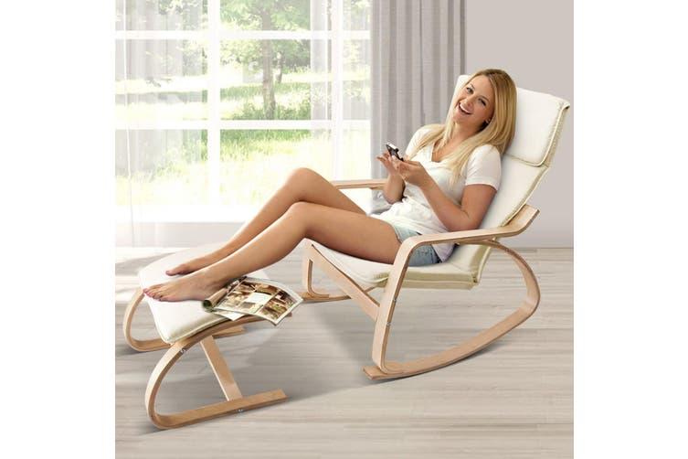 Artiss Bentwood Rocking Armchair Wooden Lounge Foot Stool Fabric Recliner Beige