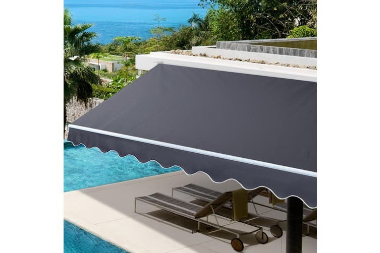 Instahut 3Mx2.5M Grey Outdoor Folding Arm Awning Retractable Sunshade Canopy Support