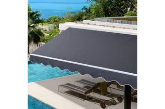 Instahut 4Mx3M Grey Outdoor Folding Arm Awning Retractable Sunshade Canopy Support