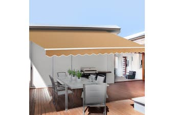 Instahut 4X2.5M Beige Folding Arm Awning Retractable Outdoor Sunshade Canopy