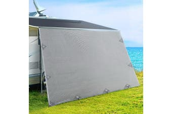 4.9M Caravan Privacy Screens 1.95m Roll Out Awning End Wall Side Sun Shade