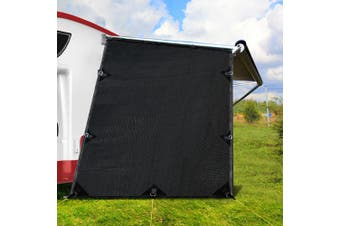 Black Caravan Privacy Screen 1.95 x 2.2M End Wall / Side Sun Shade Roll Out