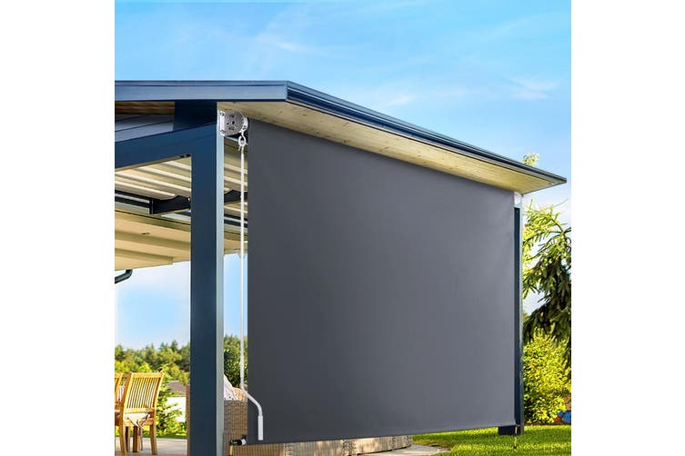 Instahut Retractable Straight Drop Roll Down Awning Patio Screen 3.0X2.5M
