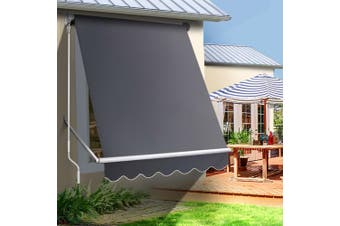 Instahut Fixed Pivot Arm Awning Window Patio Blinds Retractable Side Blockout Blackout 1.5X2.1M