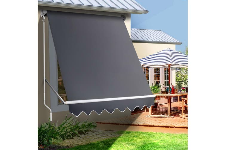Instahut Retractable Fixed Pivot Arm Awning Window Patio Blinds Side Blockout Blackout 1.8X2.1MGrey