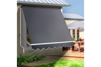 Instahut Fixed Pivot Arm Awning Window Patio Blinds Retractable Side Blackout Blockout 2.1X2.1MGrey