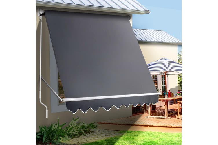 Instahut Fixed Pivot Arm Awning Window Patio Blinds Retractable Side Blockout Blackout 2.4X2.1M Grey