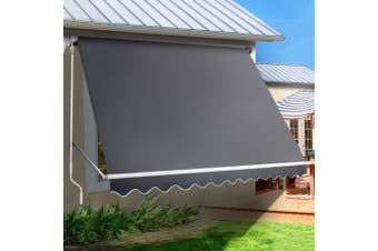 Instahut Fixed Pivot Arm Awning Window Patio Blinds Retractable Side Blockout Blackout 3.1x2.1m