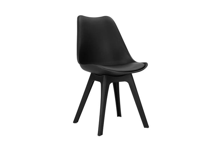 Artiss Dining Chairs Padded Retro Replica Eames Eiffel DSW Cafe Kitchen Black x4