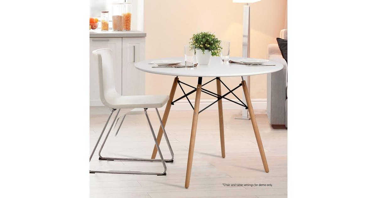 Artiss Deco Dsw Dining Table 100cm White Matt Blatt