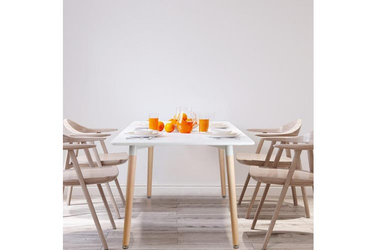 Artiss Dining Table 6 Seater 120 x 80cm White Replica Eames DSW Cafe Kitchen Retro Timber Wood MDF Rectangular Tables