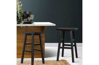 Artiss 2 x Wooden Bar Stools Kitchen Bar Stool Chairs Barstools Black