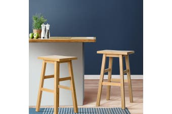 Artiss 2 x Wooden Kitchen Bar Stools Bar Stool Chairs Barstools Nature