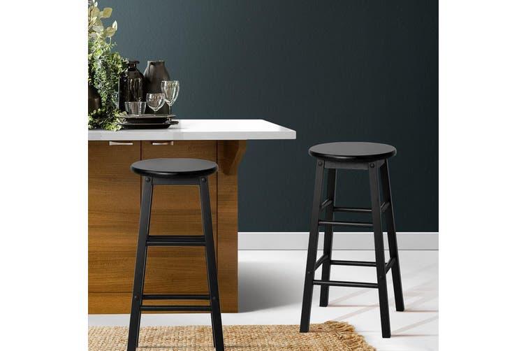 Artiss 2 x Wooden Bar Stools Bar Stool Dining Chairs Kitchen Black Barstools