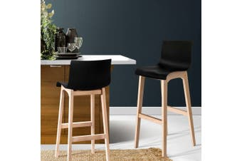 Artiss 2x Bar Stools Wooden Bar Stool Dining Chairs Kitchen Timber Black