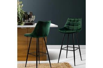 Artiss Kitchen Bar Stools Velvet Bar Stool Counter Chairs Metal Barstools Green