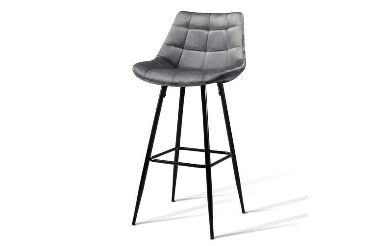Artiss Kitchen Bar Stools Velvet Bar Stool Counter Chairs Metal Barstools Grey
