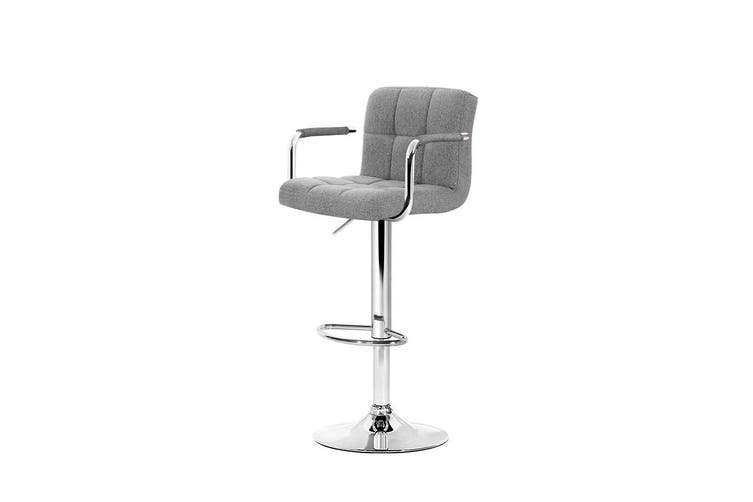 Artiss 2x Bar Stools Kitchen Bar Stool Chairs Gas Lift Swivel Fabric Chrome Grey