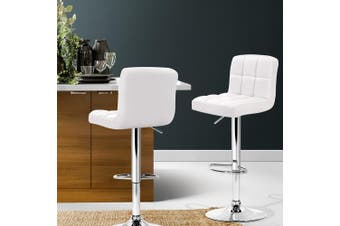 Artiss 2x Bar Stools Kitchen Swivel Bar Stool Leather Gas Lift Chairs White