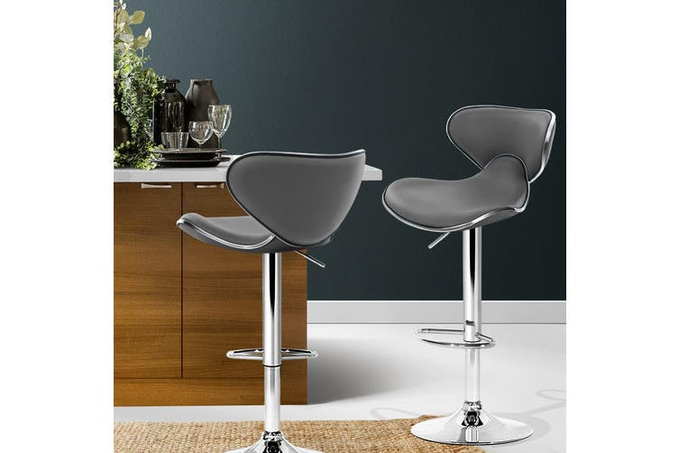 Artiss 2x Kitchen Bar Stools Swivel Bar Stool Leather Gas Lift Chairs Grey