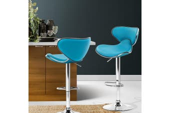 Artiss 2x Kitchen Bar Stools Swivel Bar Stool Leather Gas Lift Chairs Teal