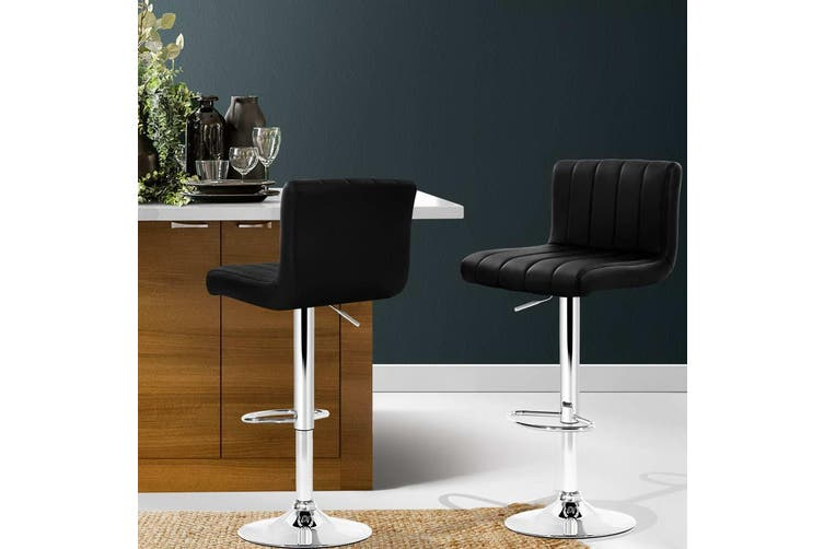 Artiss 2x Leather Bar Stools Kitchen Chairs Bar Stool Black Gas Lift Swivel